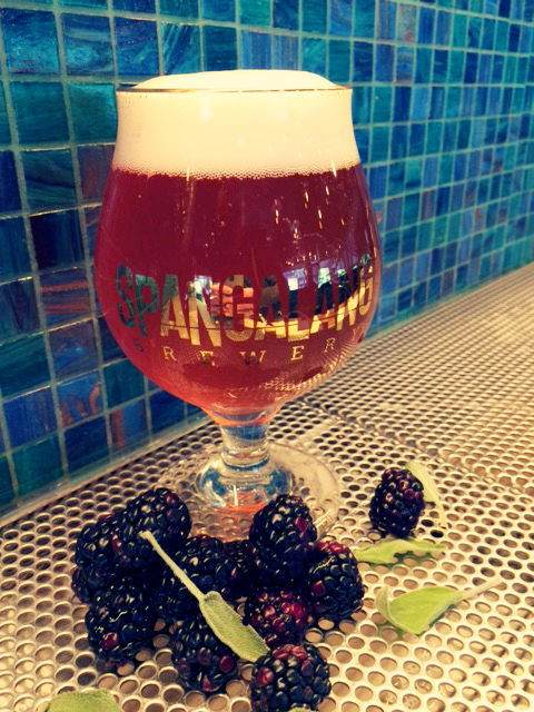 A sour beer with blackberries and sage.